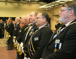 Photo of lodge members standing in a row. Link to Gifts by Will.